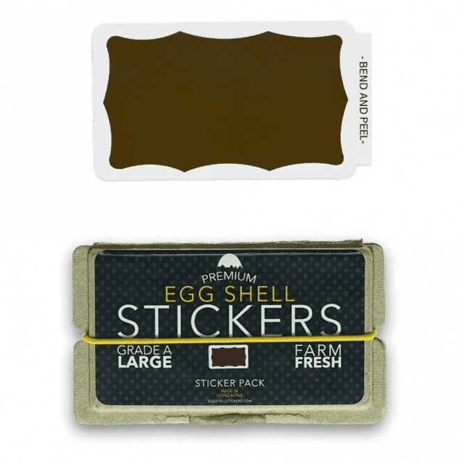 Egg Shell Stickers Brown Wavy Border