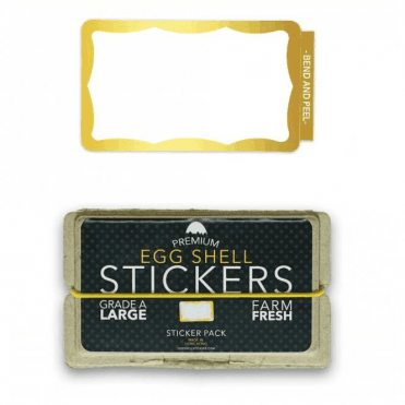 Egg Shell Stickers Gold Wavy Border