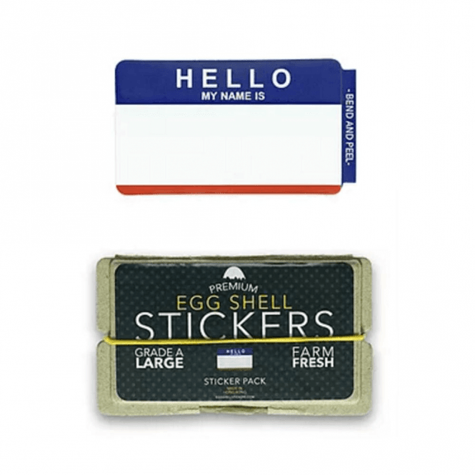 Egg Shell Stickers 'Hello My Name Is' Blue / Red