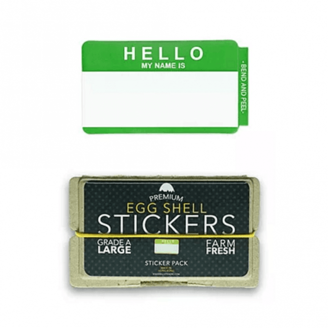 Egg Shell Stickers 'Hello My Name Is' Green