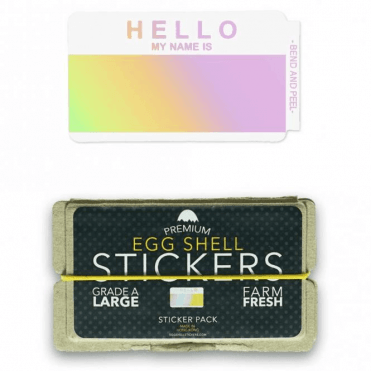 Egg Shell Stickers 'Hello My Name Is' Hologram
