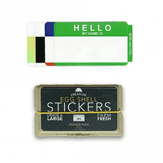 Egg Shell Stickers 'Hello My Name Is' Mixed