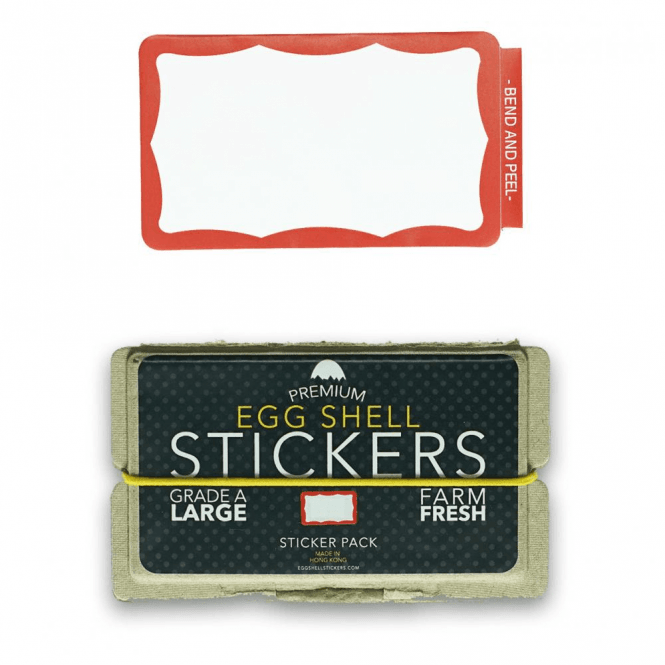Egg Shell Stickers Red Wavy Border