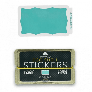 Egg Shell Stickers Teal Wavy Border