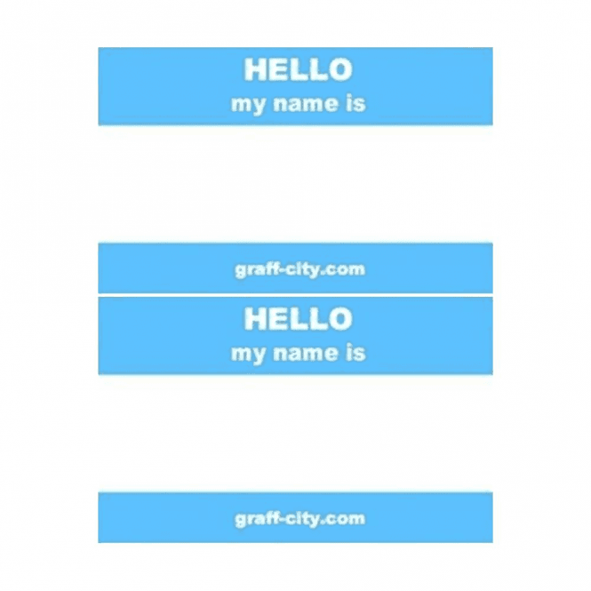 Graff-City Blue 'Hello My Name Is' Stickers