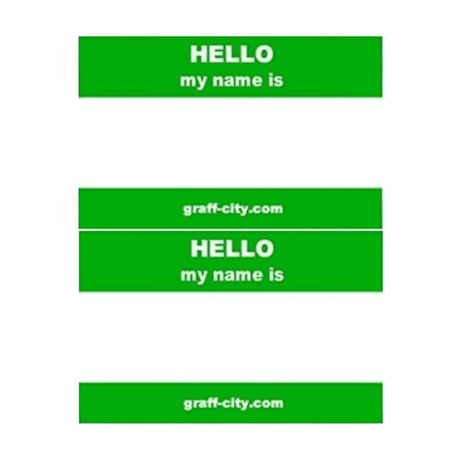 Graff-City Green 'Hello My Name Is' Stickers
