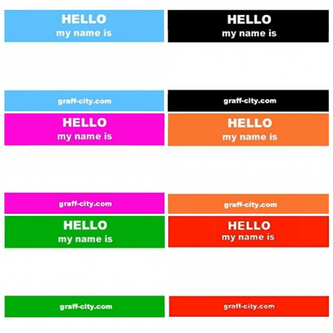 Graff-City Mixed Colour 'Hello My Name Is' Stickers (120)
