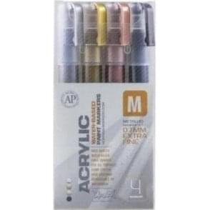 Acrylic 0.7mm Extra Fine Marker Metallic Set (4)