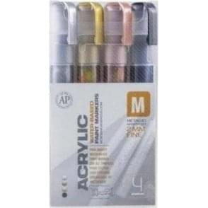Acrylic 2mm Fine Marker Metallic Set (4)
