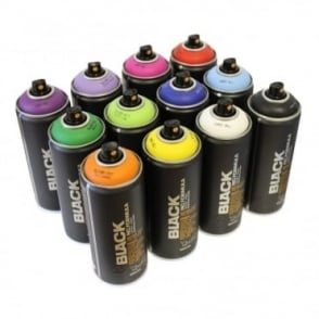 Black Spray Paint - 12 Pack